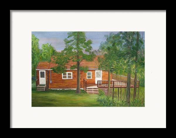 Landscape Framed Print featuring the painting Little Cabin In The Big Woods by Patricia Ortman