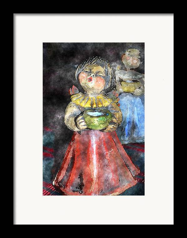 Angel Framed Print featuring the digital art Little Christmas Angel-abstract by Patricia Motley