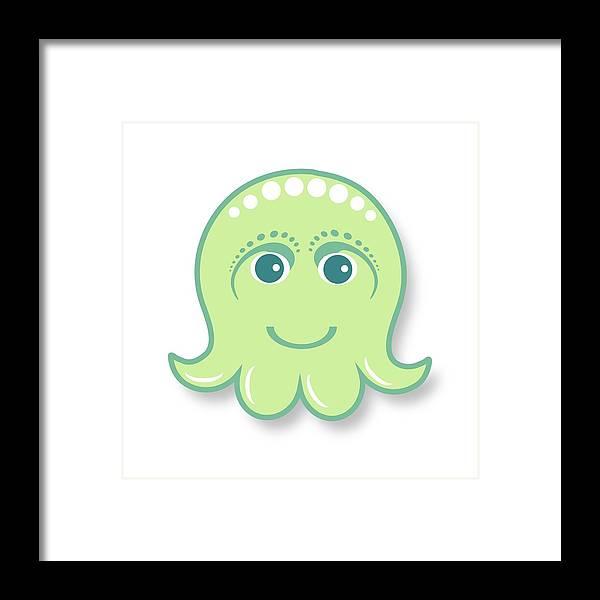 Little Octopus Framed Print featuring the digital art Little Cute Green Octopus by Ainnion