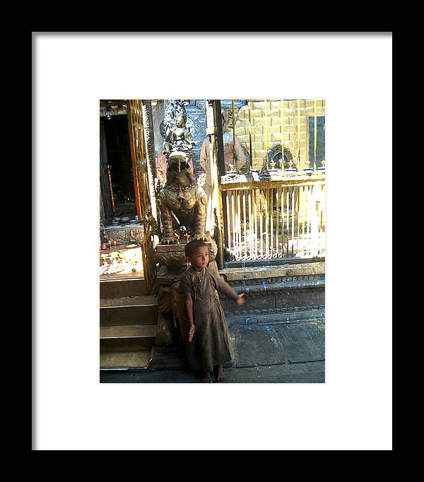 Nepalese Boy Framed Print featuring the photograph Little Dali Lama by Dorota Nowak