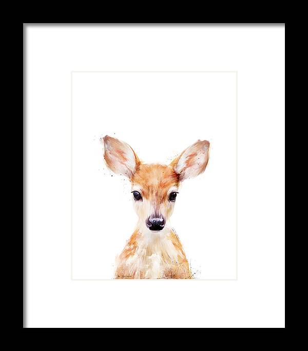 Fawn Framed Print featuring the painting Little Deer by Amy Hamilton