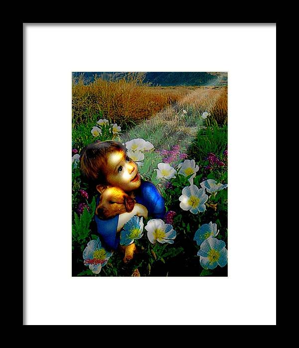 A Small Boy Loses His Puppy. Searches All Day. Finds Sick Puppy In The Rain. Now Both Are Lost Until Framed Print featuring the digital art Little Dog Lost by Seth Weaver