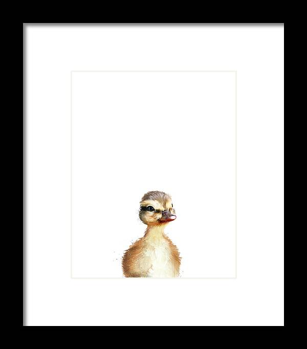 Duck Framed Print featuring the painting Little Duck by Amy Hamilton