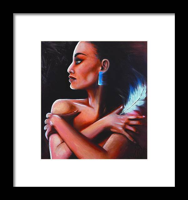 Native American Framed Print featuring the painting Little Eagle by Elizabeth Silk