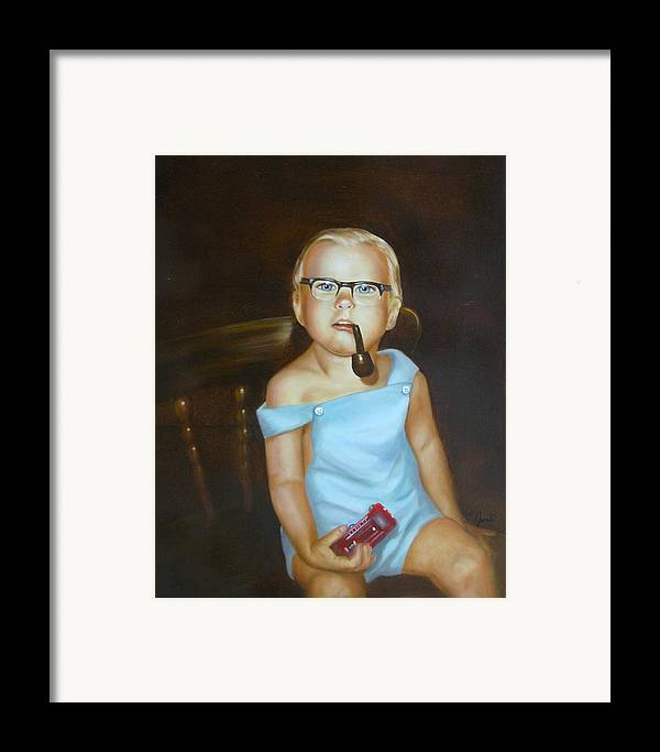 Portrait Framed Print featuring the painting Little Firefighter by Joni McPherson