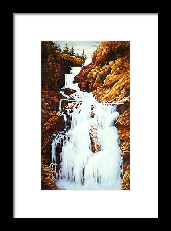 Waterfall Framed Print featuring the painting Little Firehole Falls by Teri Rosario