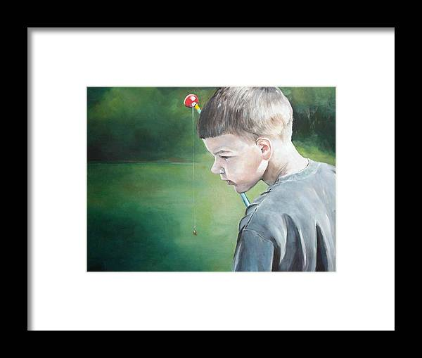 Boy Framed Print featuring the painting Little Fisherman by Charlotte Yealey