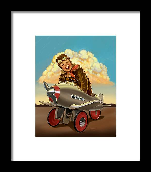 Retro Framed Print featuring the mixed media Little Flyer by Lash Larue