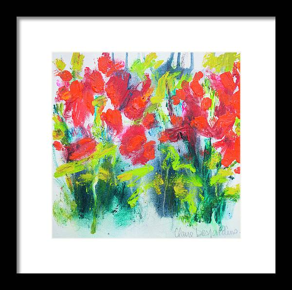 Abstract Framed Print featuring the painting Little Garden 01 by Claire Desjardins