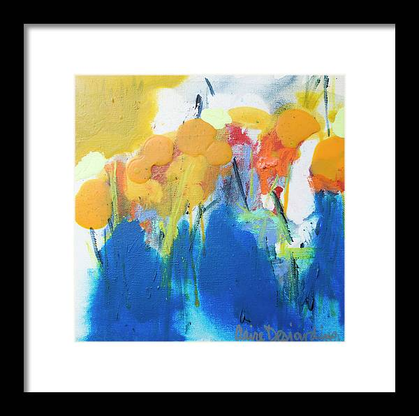 Abstract Framed Print featuring the painting Little Garden 02 by Claire Desjardins