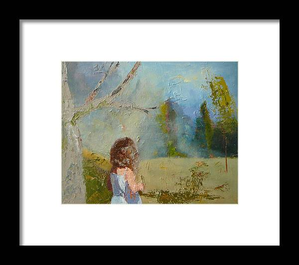 Landscape Framed Print featuring the painting sold Little Girl and the Wood by Irena Jablonski