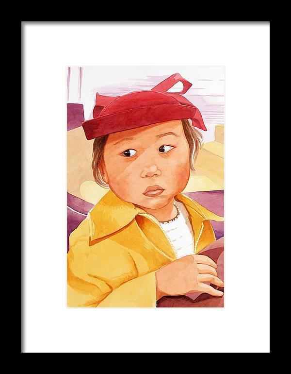 Little Japanese Girl In Red Hat Framed Print featuring the painting Little Girl In Red Hat by Judy Swerlick