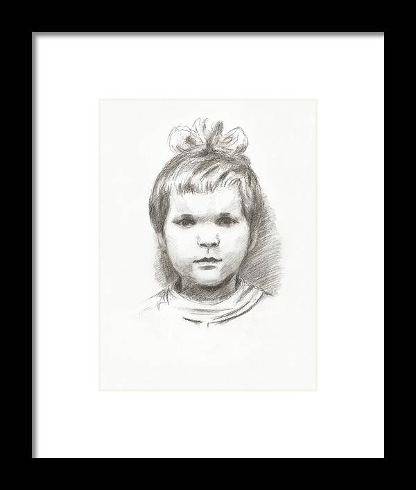 Small Framed Print featuring the drawing Little Girl by Masha Batkova