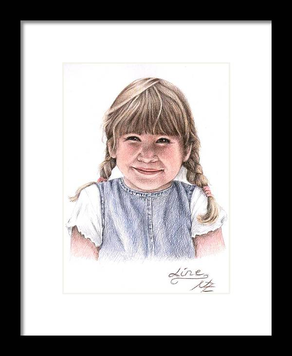 Girl Framed Print featuring the drawing Little Girl by Nicole Zeug