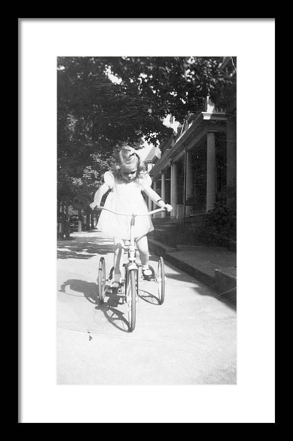 Bike Framed Print featuring the photograph Little Girl On Vintage Bike by Cheryl Viar