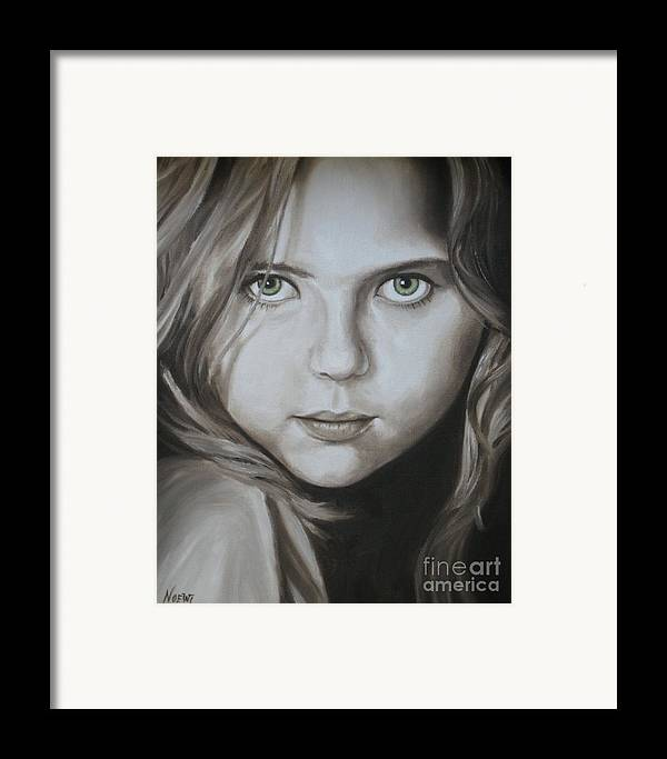 Portrait Framed Print featuring the painting Little Girl With Green Eyes by Jindra Noewi
