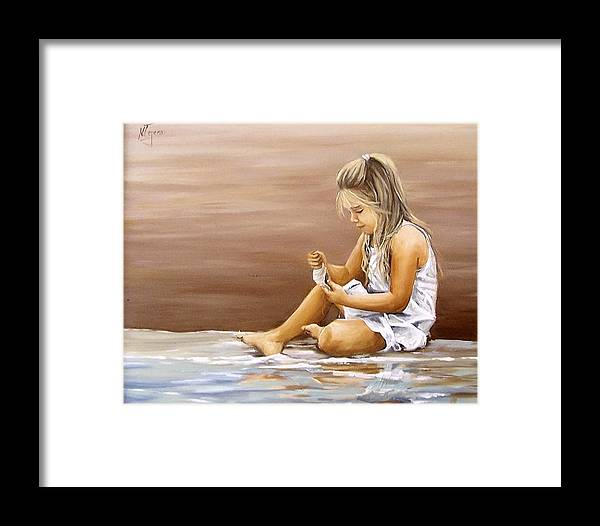 Children Girl Sea Shell Seascape Water Portrait Figurative Framed Print featuring the painting Little Girl With Sea Shell by Natalia Tejera