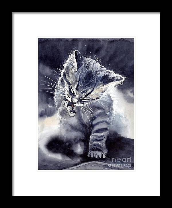 Little Framed Print featuring the painting Little Grey Cat by Suzann Sines
