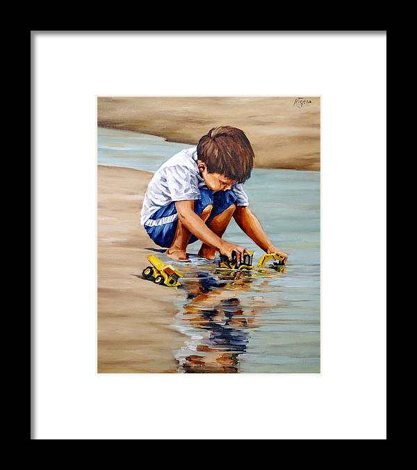 Child Framed Print featuring the painting Little guy playing by Natalia Tejera