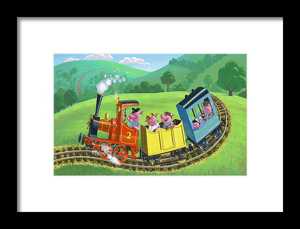 Animal Framed Print featuring the painting Little Happy Pigs On Train Journey by Martin Davey