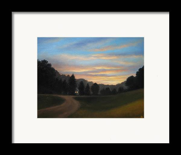 Sunset Framed Print featuring the painting Little House by Oksana Zotkina