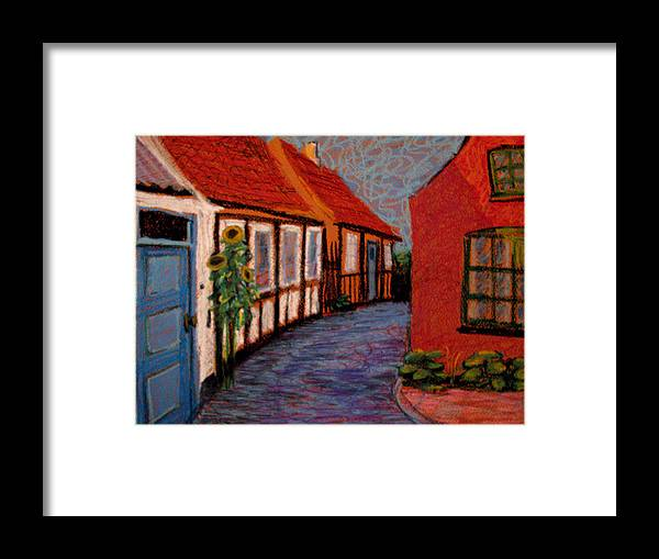 Bornholm Framed Print featuring the painting Little Houses On Bornholm Island by Art Nomad Sandra Hansen