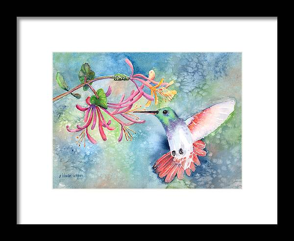 Bird Framed Print featuring the painting Little Hummingbird by Arline Wagner