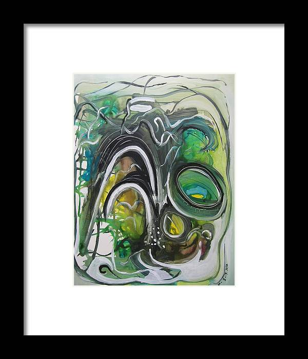 Abstract Paintings Framed Print featuring the painting little impression on Alexander trail by Seon-Jeong Kim
