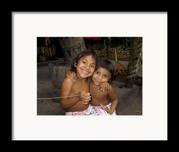 Native Framed Print featuring the photograph Little Indians Amazon by Blima Efraim