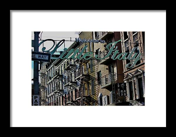 Little Italy New York Framed Print featuring the photograph Little Italy In New York by Lorna Maza