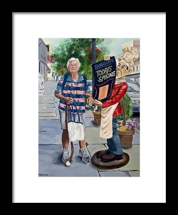 Elderly Woman Framed Print featuring the painting Little Lady From Saugerties by Judy Swerlick