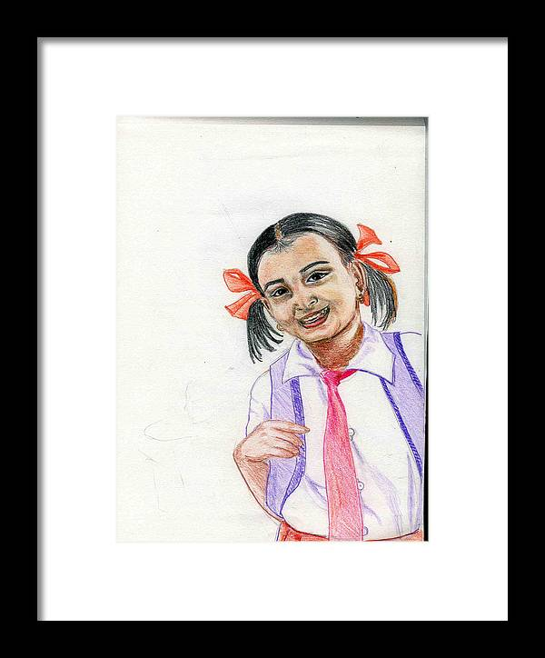 Child Framed Print featuring the drawing Little Manju by Asha Sudhaker Shenoy