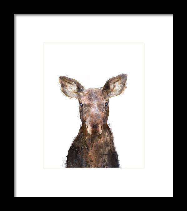 Moose Framed Print featuring the painting Little Moose by Amy Hamilton