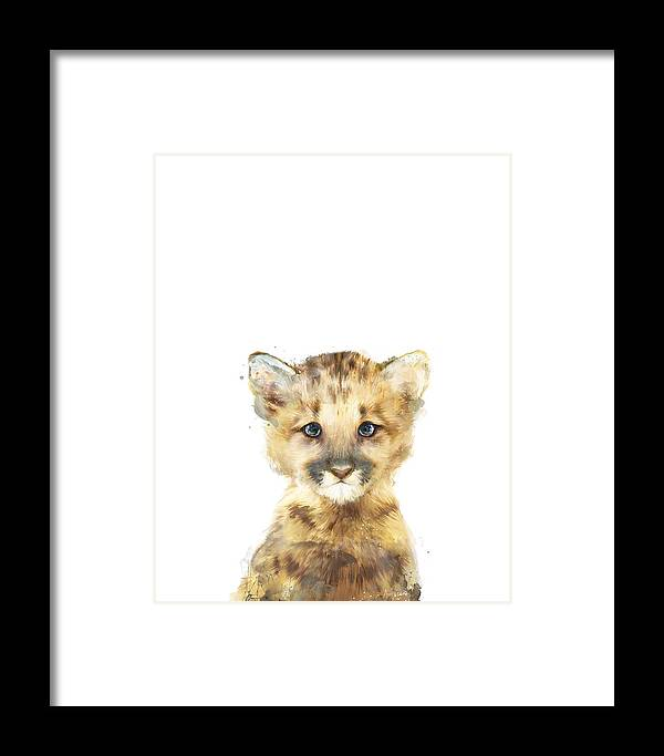 Mountain Lion Framed Print featuring the painting Little Mountain Lion by Amy Hamilton