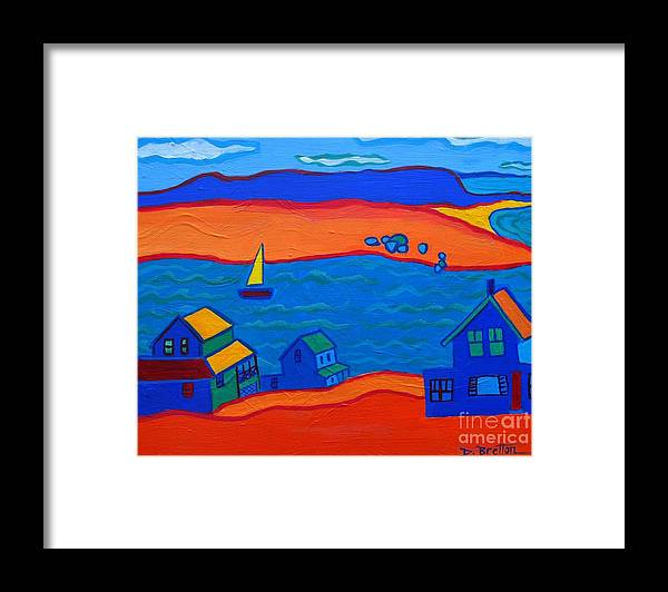 Landscape Framed Print featuring the painting Little Neck Cottages by Debra Bretton Robinson