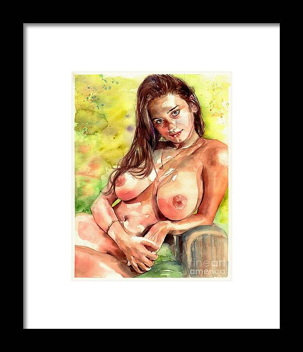 Nude Framed Print featuring the painting Little Poison by Suzann Sines