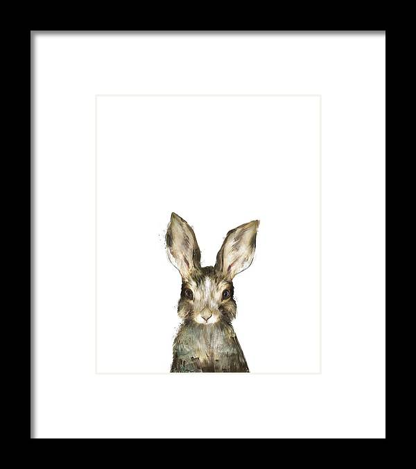 Rabbit Framed Print featuring the painting Little Rabbit by Amy Hamilton