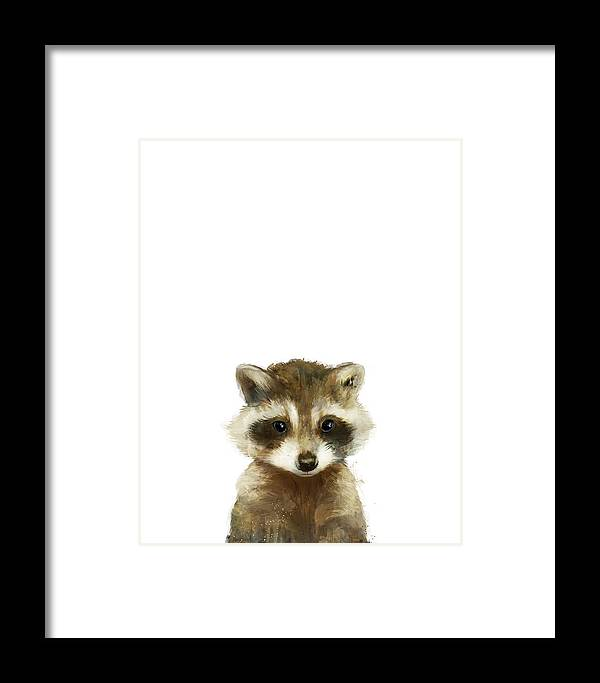 Raccoon Framed Print featuring the painting Little Raccoon by Amy Hamilton