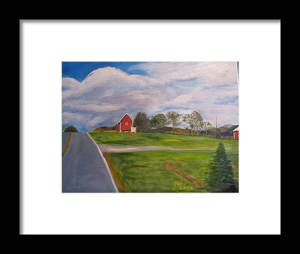 Barn Framed Print featuring the painting Little Red Barn On Detrick Rd by Gloria Condon