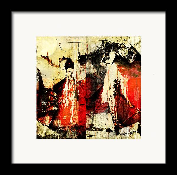 Abstract Framed Print featuring the photograph Little Red Riding Hood And The Big Bad Wolf Under A Yellow Moon by Jeff Burgess