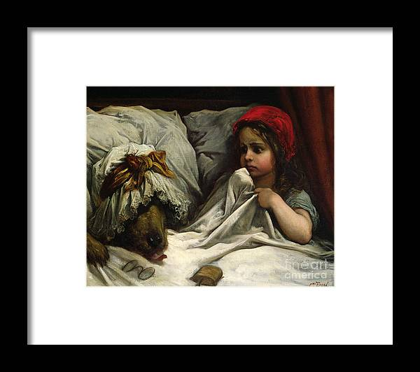 Wolf; Disguise; Child; Girl; Fairy Tale; Story; Glasses; Bed; Nightcap; Fear Framed Print featuring the painting Little Red Riding Hood by Gustave Dore