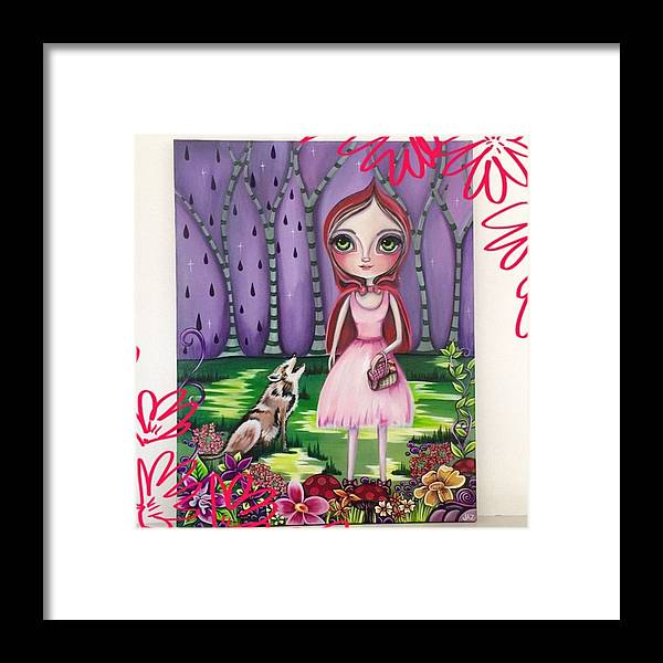 Whimsical Framed Print featuring the photograph little Red Riding Hood Painting by Jaz Higgins
