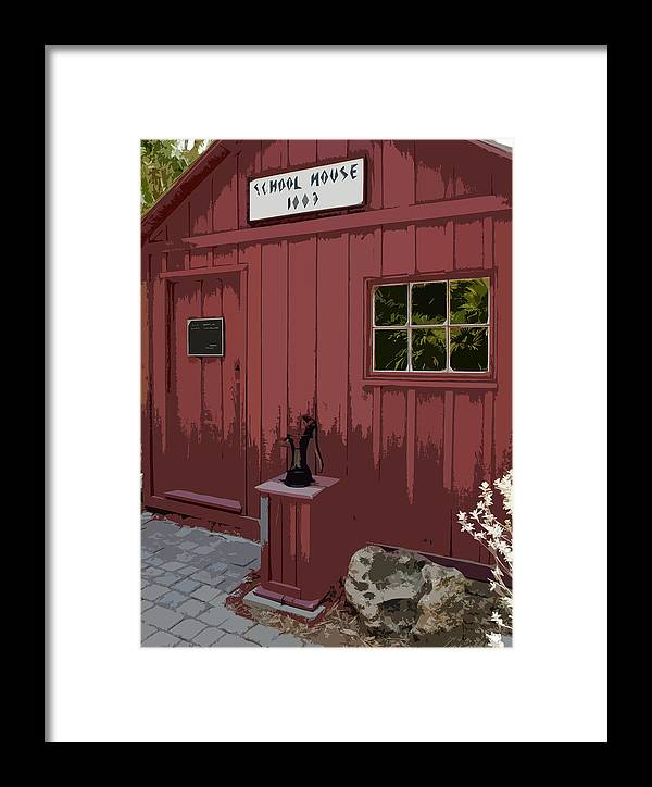 Little Framed Print featuring the painting Little Red Schoolhouse by Allan Hughes