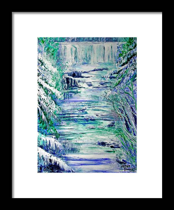 Little River Canyon Framed Print featuring the painting Little River Canyon Ice Storm by Anne Hamilton