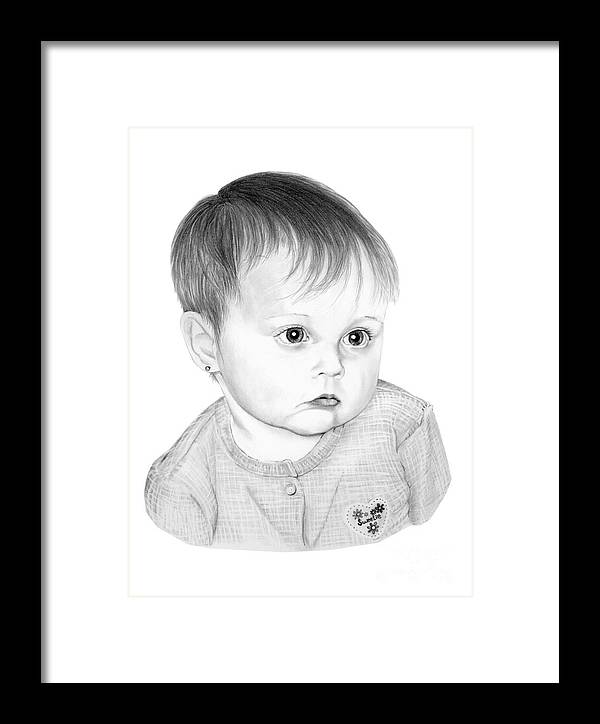 Pencil Framed Print featuring the drawing Little Sweetie by Murphy Elliott