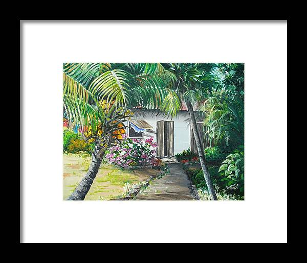 Caribbean Painting Typical Country House In Trinidad And The Islands With Coconut Tree Tropical Painting Framed Print featuring the painting Little West Indian House 2...sold by Karin Dawn Kelshall- Best