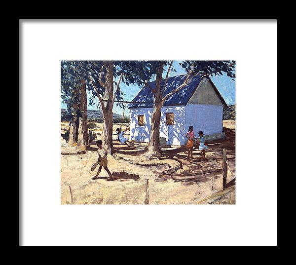 African Landscape Framed Print featuring the painting Little White House Karoo South Africa by Andrew Macara