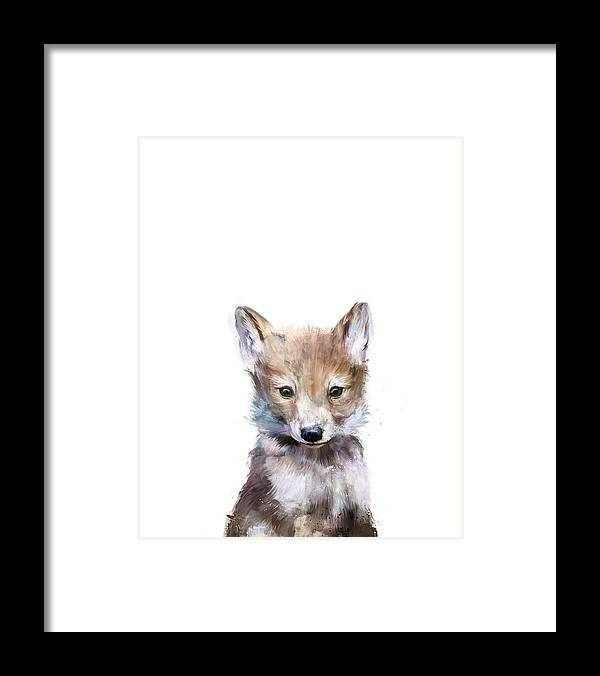 Wolf Framed Print featuring the painting Little Wolf by Amy Hamilton