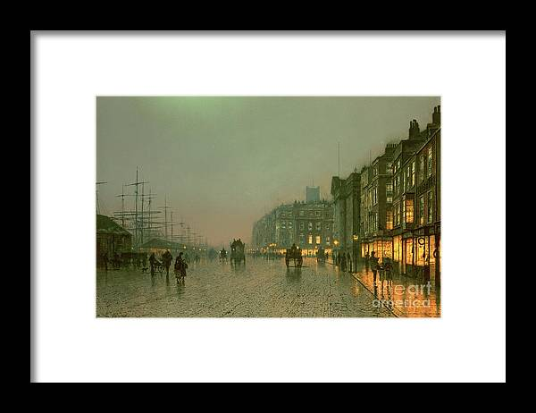 Liverpool Docks From Wapping Framed Print featuring the painting Liverpool Docks From Wapping by John Atkinson Grimshaw