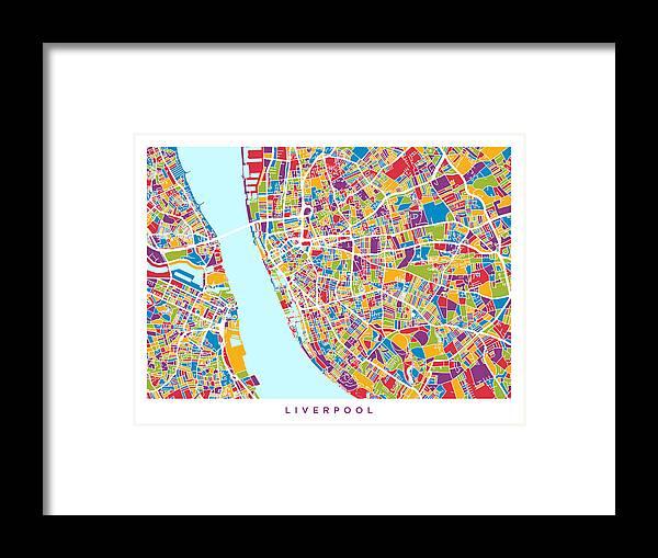 Liverpool England City Street Map Framed Print